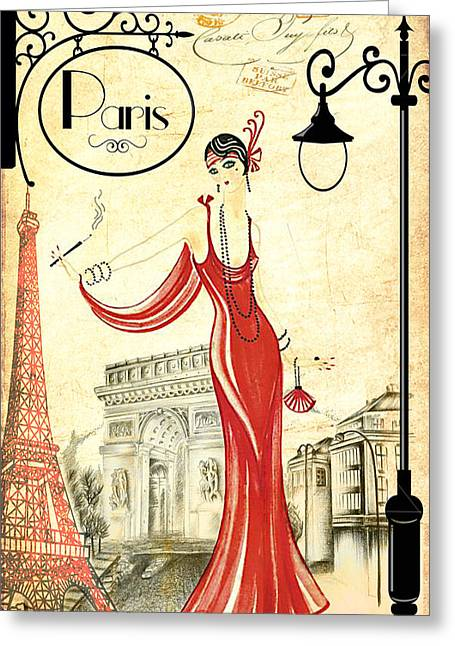 Vintage Paris Woman Greeting Card by Greg Sharpe