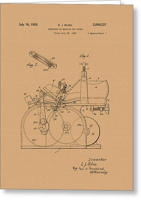 Vintage Patent For Breaking In Shoes Greeting Card by Mountain Dreams