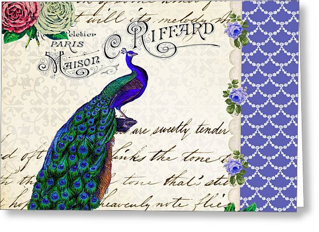 Vintage Peacock Collage Greeting Card by Li Or