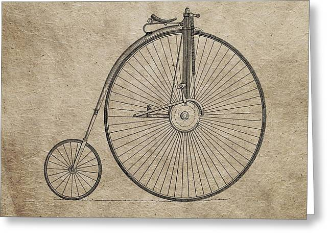 Vintage Penny-farthing Bicycle Illustration Greeting Card by Dan Sproul