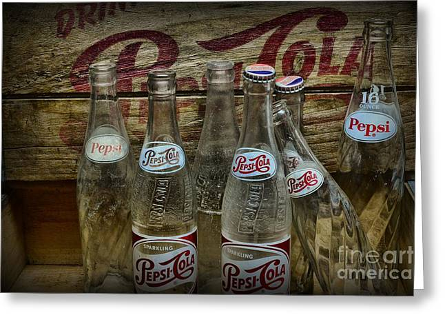 Vintage Pepsi Crate And Bottles Greeting Card by Paul Ward