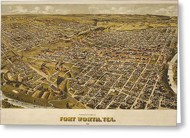 Vintage Perspective Map Forth Worth Texas Greeting Card