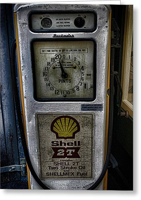 Vintage Petrol Pump Greeting Card by Martin Newman