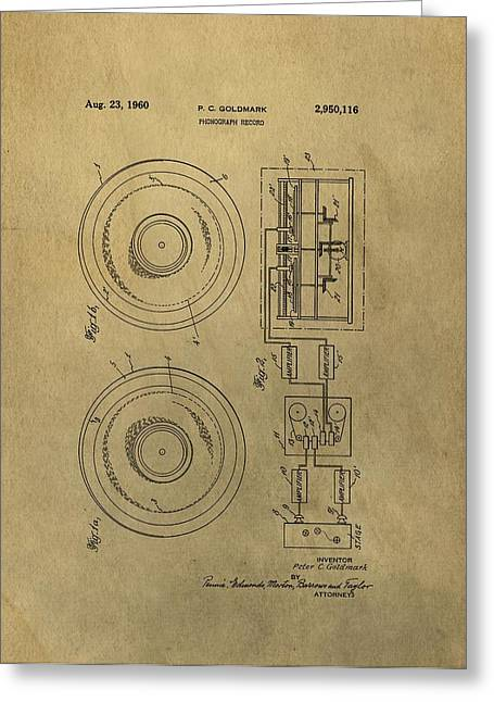 Vintage Phonograph Patent Illustrattion Greeting Card by Dan Sproul