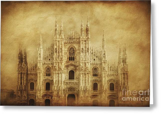Vintage Photo Of Duomo Di Milano Greeting Card by Evgeny Kuklev
