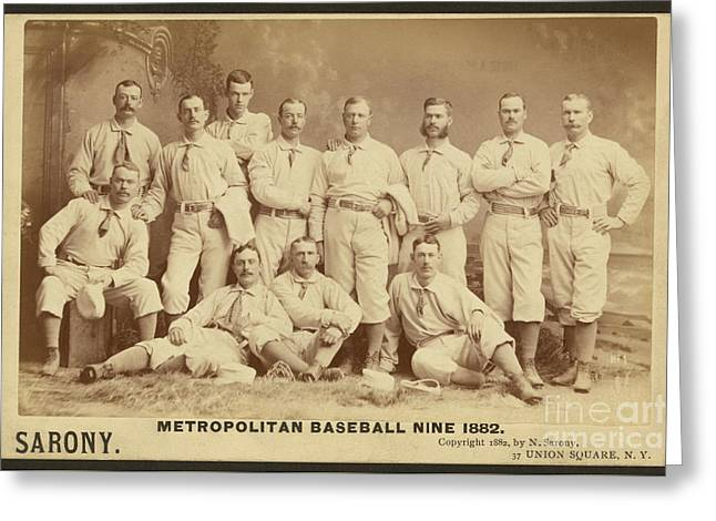 Vintage Photo Of Metropolitan Baseball Nine Team In 1882 Greeting Card