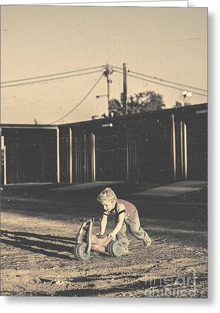 Vintage Photograph Of A Cute Child Pushing Trike Greeting Card by Jorgo Photography - Wall Art Gallery