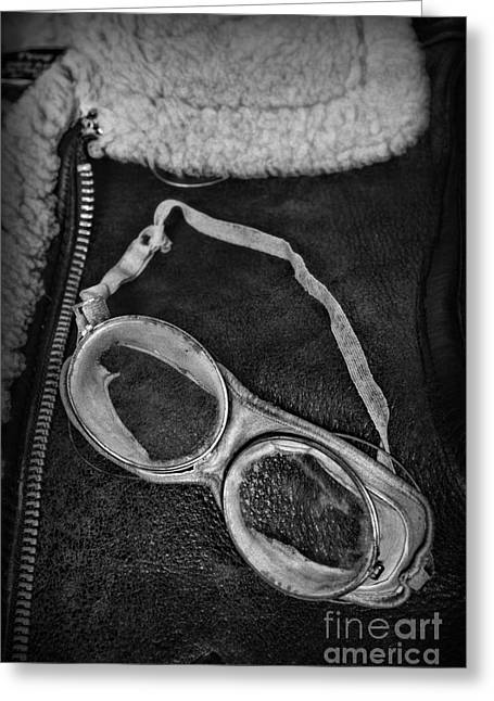 Vintage Pilot Gear In Black And White Greeting Card