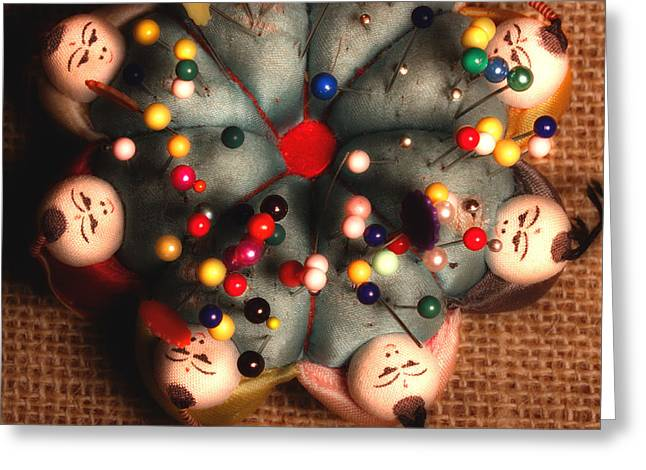 Vintage Pin Cushion Greeting Card by Michael Eingle