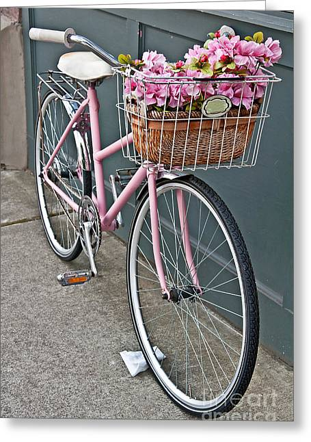 Vintage Pink Bicycle With Pink Flowers Art Prints Greeting Card