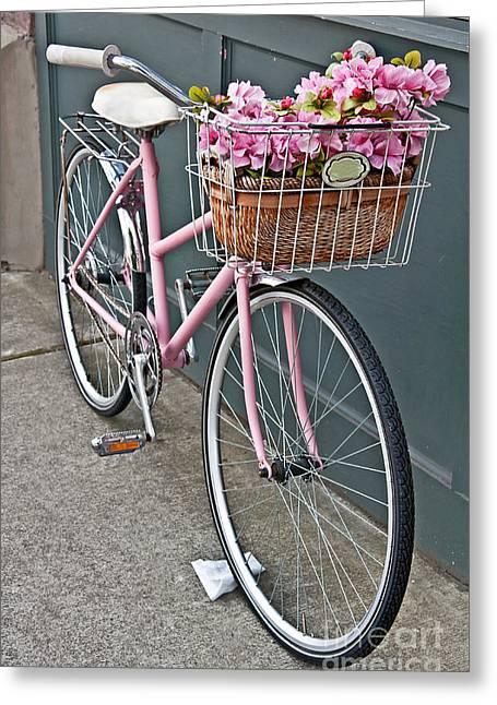 Vintage Pink Bicycle With Pink Flowers Art Prints Greeting Card by Valerie Garner