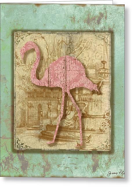 Vintage Pink Flamingo-3 Greeting Card