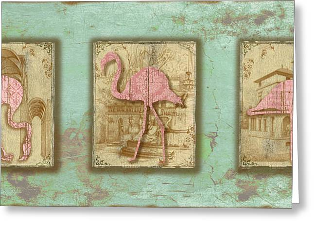 Vintage Pink Flamingo Trio-b Greeting Card