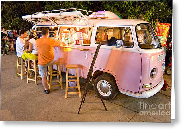 Vintage Pink Volkswagen Bus Greeting Card by Luciano Mortula