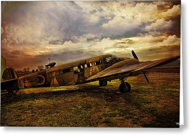 Vintage Plane Greeting Card by Evie Carrier
