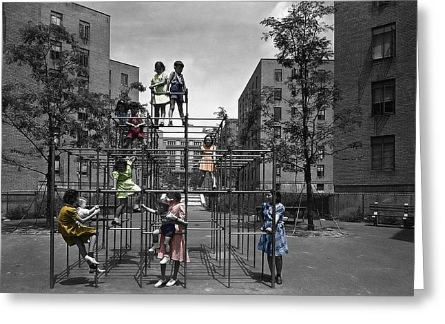 Vintage Playground Greeting Card by Andrew Fare