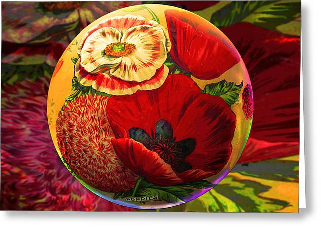 Vintage Poppy Sphere Greeting Card by Robin Moline