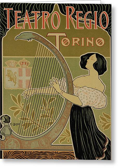 Vintage Poster Advertising The Theater Royal Turin Greeting Card
