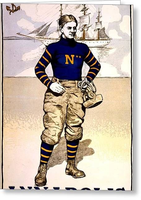 Vintage Poster - Naval Academy Midshipman Greeting Card by Benjamin Yeager