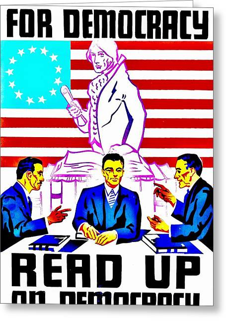 Vintage Poster - Read Up Greeting Card by Benjamin Yeager