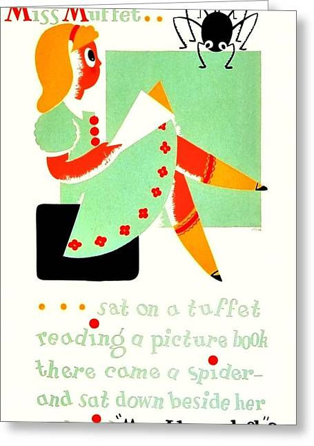 Vintage Poster - Reading - Miss Muffet Greeting Card by Benjamin Yeager