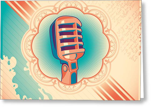 Vintage Poster With Microphone. Vector Greeting Card