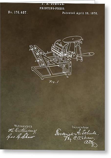 Vintage Printing Press Patent Greeting Card by Dan Sproul