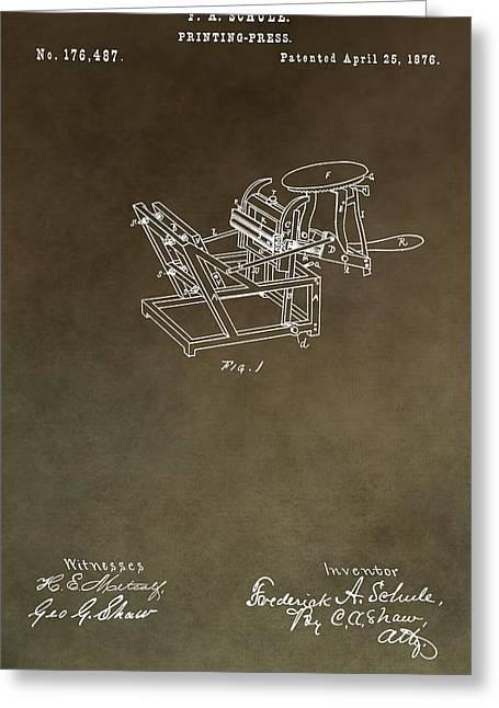 Vintage Printing Press Patent Greeting Card