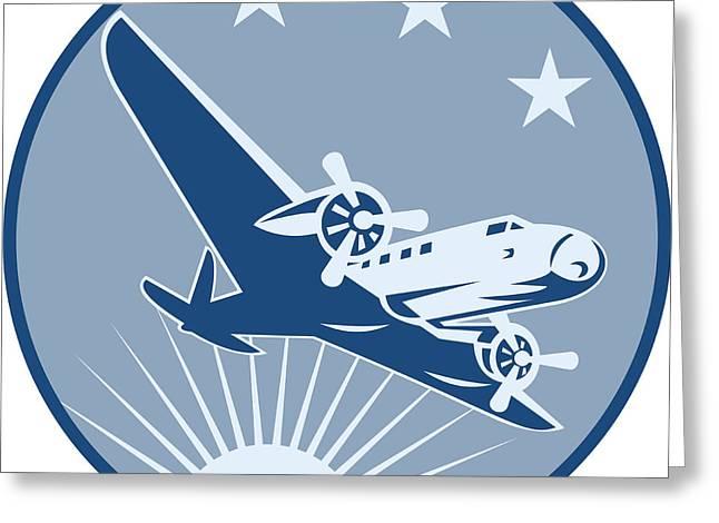 Vintage Propeller Airplane Retro Greeting Card by Aloysius Patrimonio