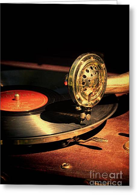 Vintage Record Player Greeting Card by Jill Battaglia