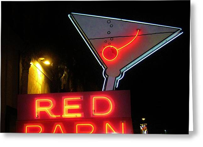 Vintage Red Barn Neon Sign Las Vegas Greeting Card by John Malone