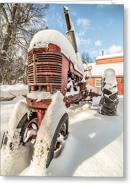 Vintage Red Farmall Tractor In The Snow Greeting Card