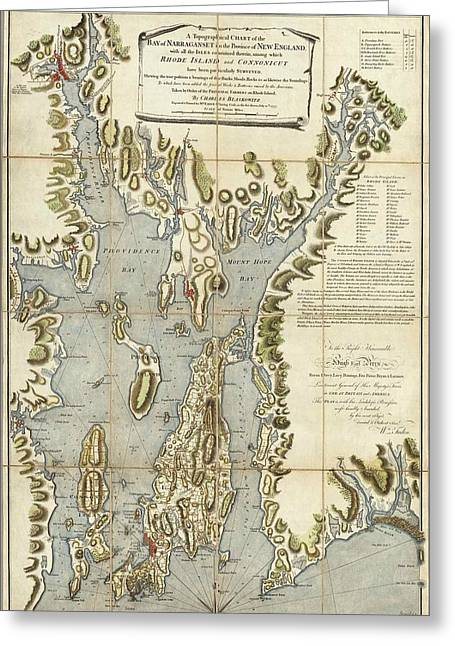 Vintage Rhode Island 1777 Map Greeting Card by Dan Sproul