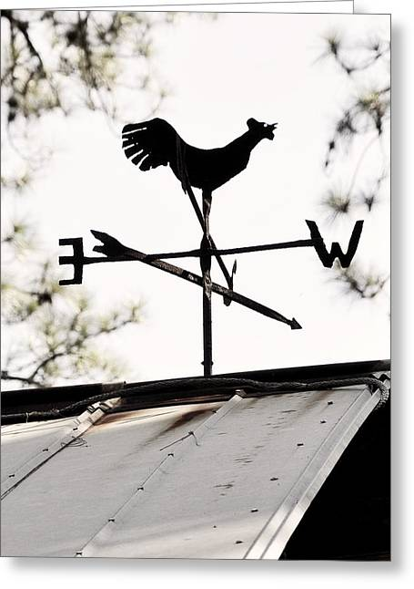 Vintage Rooster Weathervane  Greeting Card by Rebecca Brittain