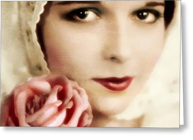 Vintage Rose Greeting Card by Georgiana Romanovna