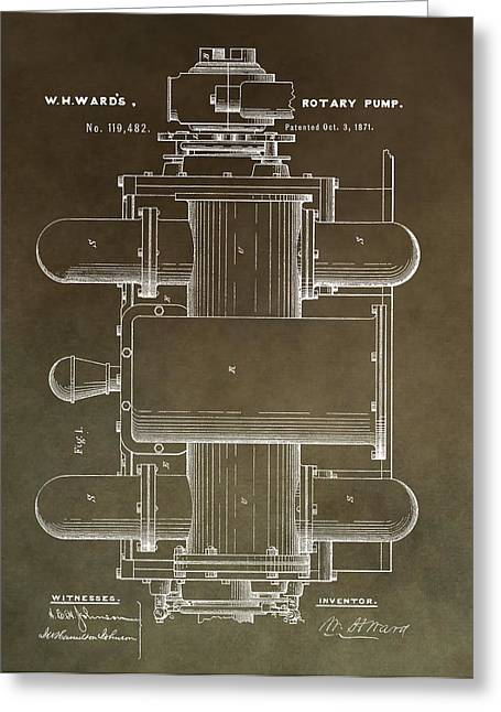 Vintage Rotary Pump Patent Greeting Card by Dan Sproul