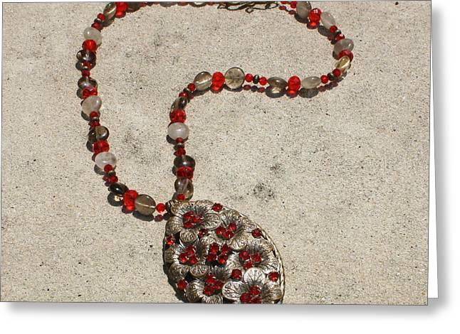 Vintage Ruby Rhinestone Flower Brooch Pendant Necklace 3633 Greeting Card