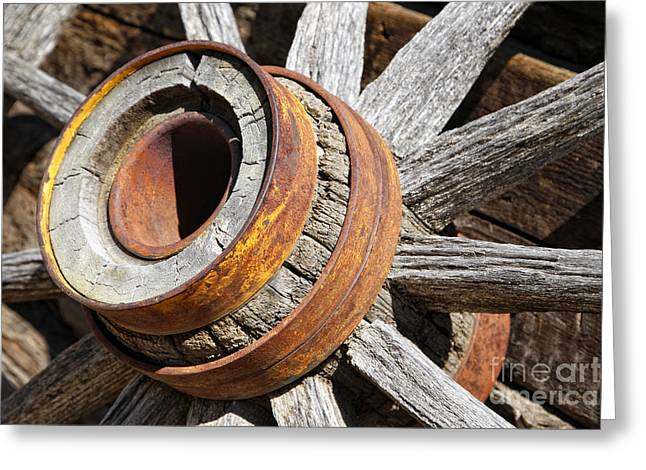 Greeting Card featuring the photograph Vintage Rustic Wagon Wheel 1 by Lincoln Rogers