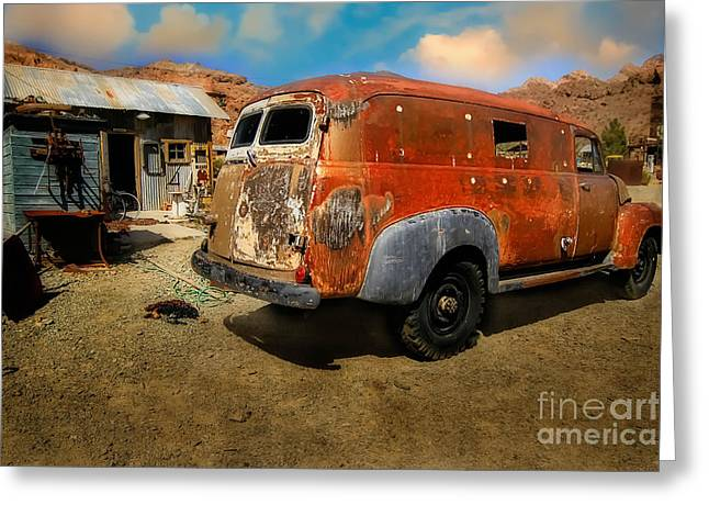 Vintage Rusty Chevy Panel Truck Greeting Card by Brenda Giasson