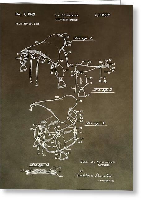Vintage Saddle Patent Drawing Greeting Card