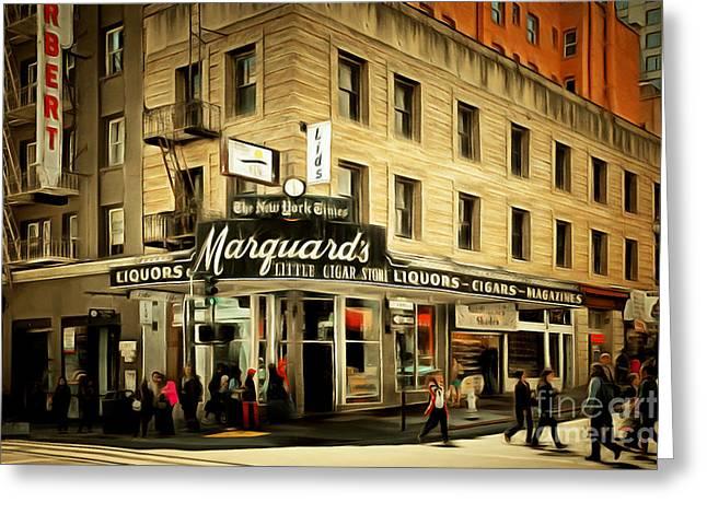 Vintage San Francisco Marquards Little Cigar Store Powell Street 5d17950brun Greeting Card