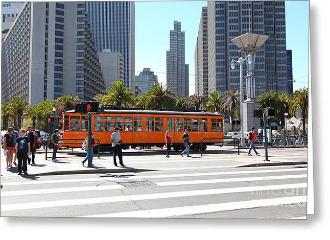 Vintage San Francisco Street Car On The Embarcadero 5d25384 Greeting Card by Wingsdomain Art and Photography