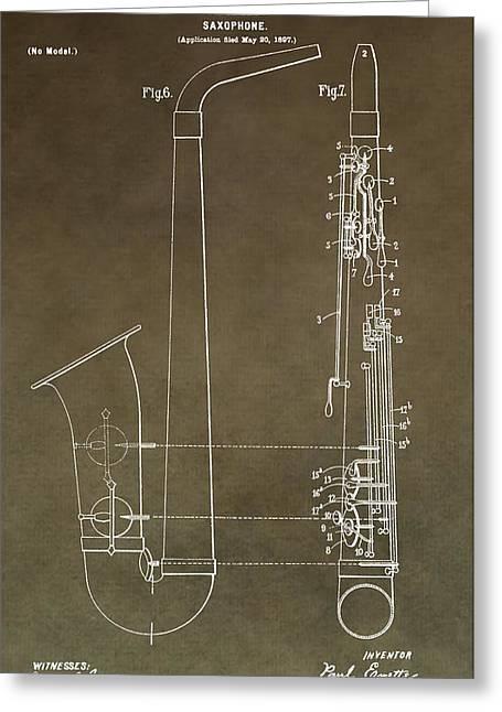 Vintage Saxophone Patent Greeting Card