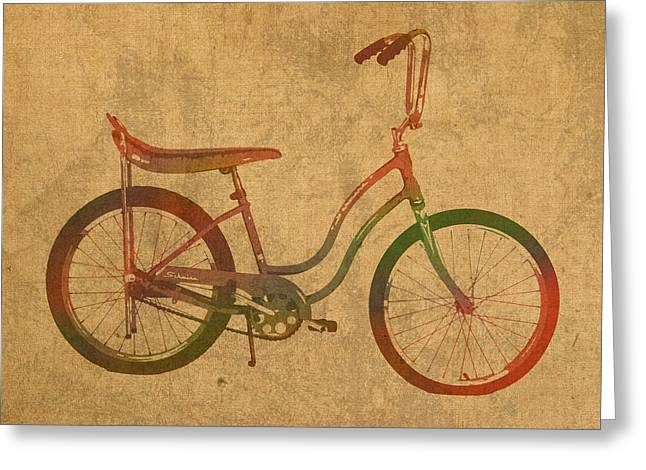 Vintage Schwinn Bicycle Watercolor On Worn Distressed Canvas Series No 001 Greeting Card by Design Turnpike