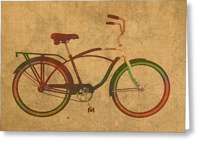 Vintage Schwinn Bicycle Watercolor On Worn Distressed Canvas Series No 002 Greeting Card by Design Turnpike