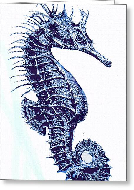 Vintage Seahorse-left -blue Greeting Card by Jane Schnetlage