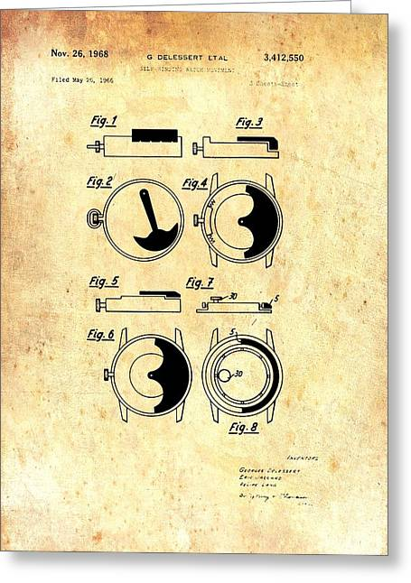 Vintage Self-winding Watch Movement Patent Greeting Card by Mountain Dreams