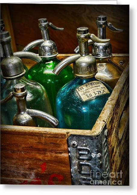 Vintage Seltzer Bottles Greeting Card by Paul Ward