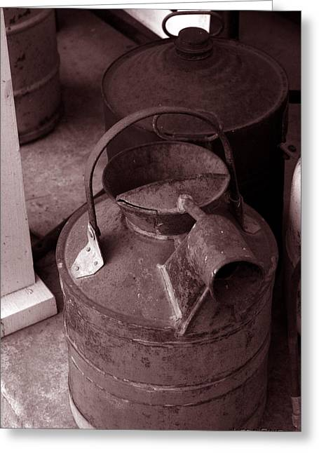 Greeting Card featuring the photograph Vintage Sepia Galvanized Container by Lesa Fine