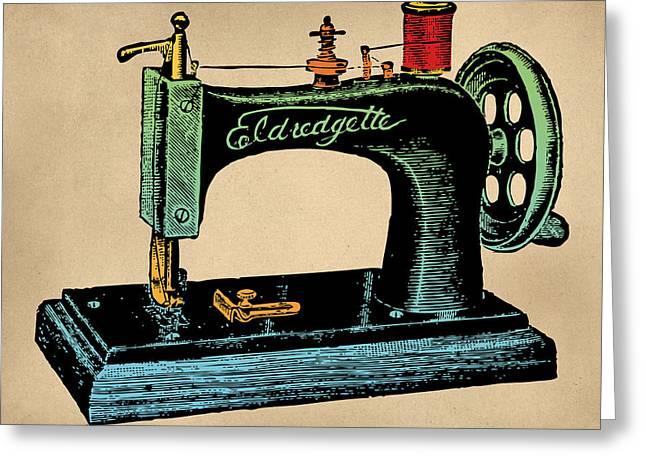 Vintage Sewing Machine Illustration Greeting Card by Flo Karp